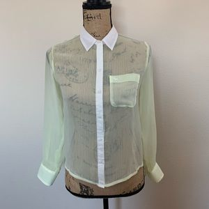Sheer yellow & white Abercrombie & Fitch Blouse